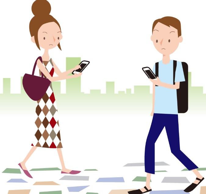 女性のスマホ歩きは危険